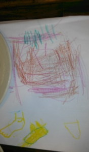 This is mostly her daddy, but also she asked me to draw some feet.